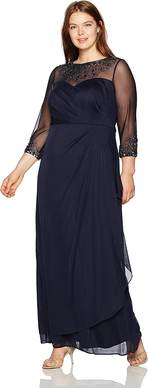 Alex Evenings Womens Women's Long Sweetheart Neck Dress with Illusion Neckline Dress