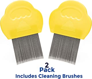 ClinicalGuard Professional Lice Comb for Head Lice Removal, Nits, Flea and Lice Eggs with Cleaning Brush (2 Pack)