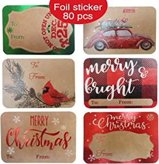 80-Count Foil Kraft Christmas Gift Tags Sticker- 8 Jumbo Designs - Xmas to from Christmas Stickers Name Tags Write On Labels - Holiday Present Labels