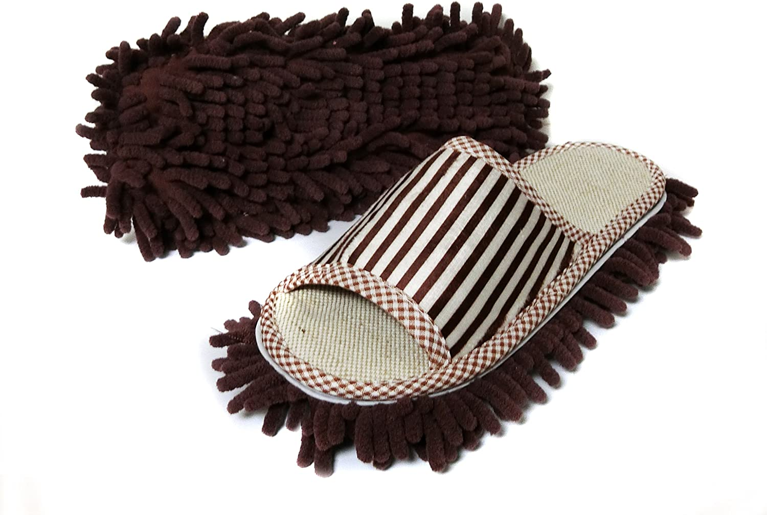 Friendly House Women's Microfiber Floor Cleaning Mop Slippers with Stripes (Suitable for US Women Size 7-9, Coffee)