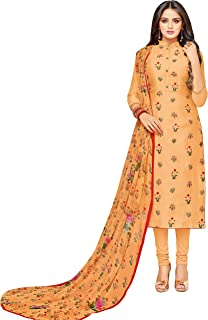 Rajnandini Women's Orange chanderi silk Embroidered Semi-Stitched Salwar Suit Material With Printed Dupatta (Free Size)