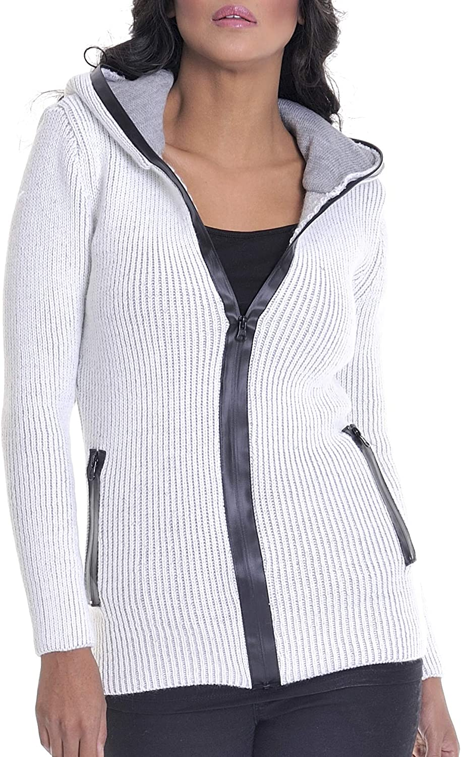 LEIF NELSON Women's Knit Cheap SALE Start Jacket Soldering With Basic Hood Casual