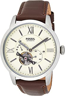 Fossil Men's Townsman Watch in Silvertone with Dark Brown Leather Strap