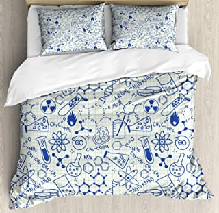 Ambesonne Children Duvet Cover Set, Science Chemistry Geometry Math Nerd Geek and Genius Themed Design Artwork, Decorative 3 Piece Bedding Set with 2 Pillow Shams, Queen Size, Ivory Blue