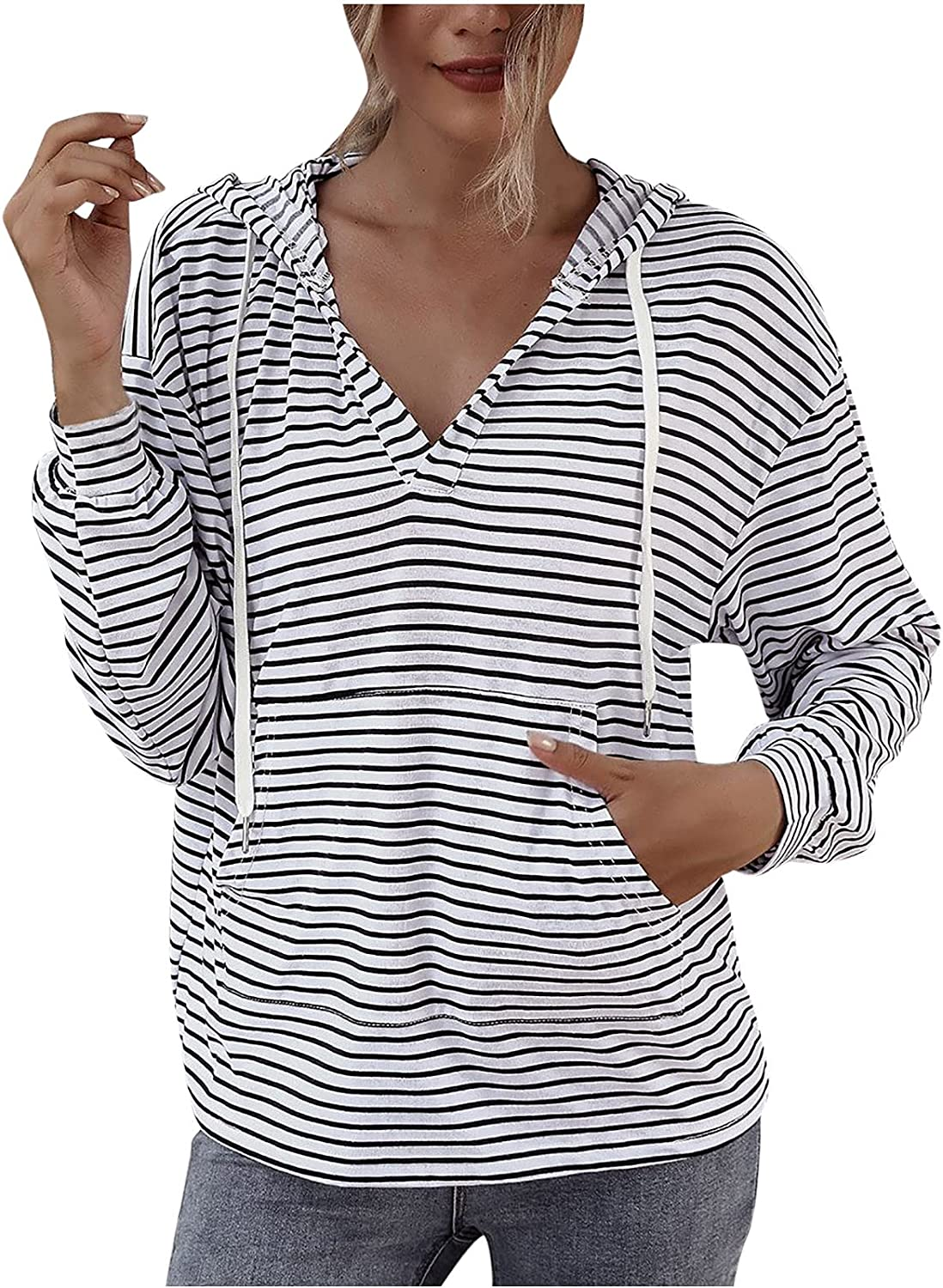 Drawstring Stripes Pullover Hoodies For Women V Neck Long Sleeve Blouse Casual Loose Sweatshirt Tops With Pockets