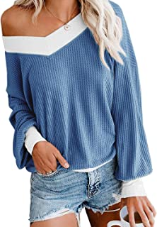 CEUCAL Women's V Neck Long Sleeve Waffle Knit Tops Off Shoulder Loose Casual Pullover Sweater