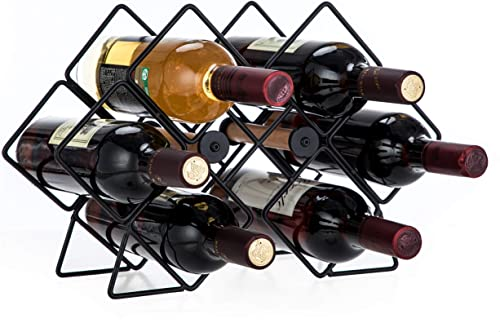 wholesale Home Zone Living VK40293U Wine outlet sale Rack for Countertop, Up to 6-Bottles, outlet online sale Hexagon Design, Black outlet sale