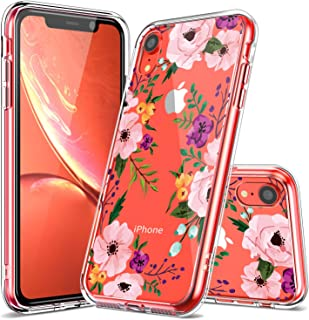 iPhone XR Case, LUHOURI Clear iPhone XR Case, Girls Women Pink Floral Heavy Duty Protective Hard PC Back Case with Shockproof Slim TPU Bumper Cover Phone Case for iPhone XR