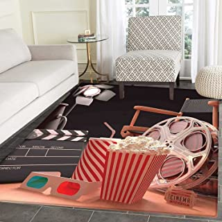 Movie Theater Dining Room Home Bedroom Carpet Floor Mat Objects of The Film Industry Hollywood Motion Picture Cinematography Concept Non Slip Mat 5'x6' Multicolor