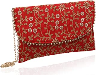 Kuber Industries Handcrafted Embroidered Clutch Bag Purse Handbag for Bridal, Casual, Party, Wedding (Red) - CTKTC34513