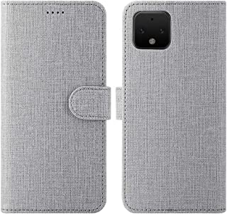 Feitenn Google Pixel 4 Wallet Case, Pixel 4 Flip Case, Slim Folio Cover Kickstand Credit Card Slots Holder Magnetic Closure Bumper Shockproof PU Leather Soft TPU Shell for Google Pixel 4 2019 - Gray