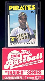 1986 Topps MLB Baseball Traded Series Complete Mint 132 Card Series Set in Original Factory Set Box with Barry Bonds Canseco Bo Jackson Rookie Cards