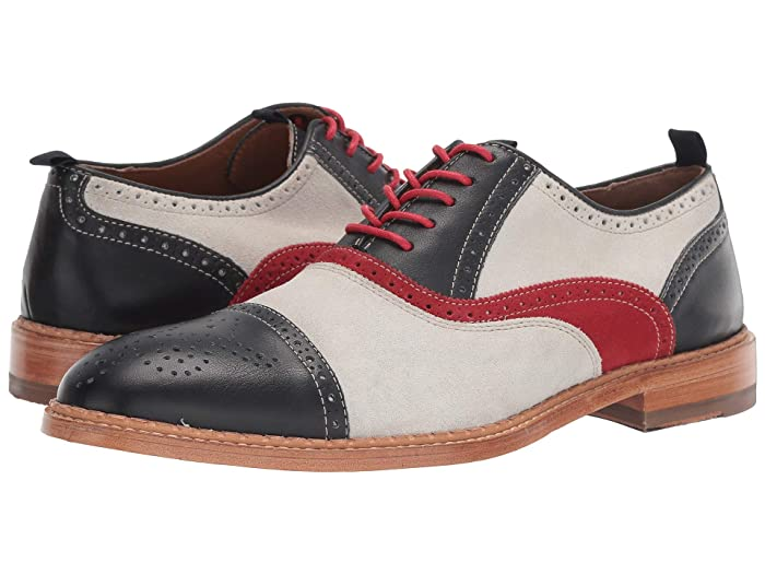 Retro Clothing for Men | Vintage Men's Fashion JM EST. 1850 Chambliss Cap Toe NavyRed Mens Shoes $177.99 AT vintagedancer.com