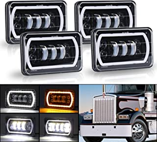 MOVOTOR Off Road 4x6 Led Headlights with White/Yellow Halo Seal Beam H4651 H4656 H6545 H4668 Replacement Headlamp for Chevrolet Ford Kenworth Peterbilt Semi Truck