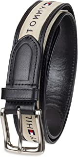 Men's Ribbon Inlay Fabric Belt with Single Prong Buckle