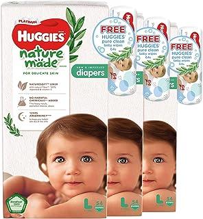 Huggies Platinum Naturemade L Diapers + Free Huggies Pure Clean Wipes, 162 count (Pack of 3)