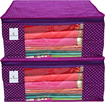 Kuber Industries Polka Dots 2 Piece Cotton 3 Layered Quilted Saree Cover, Purple-CTKTC21282