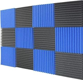 Mybecca 12 Pack Acoustic Panels Studio Foam Wedges Charcoal/Blue 1