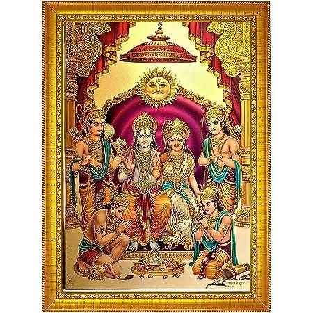 ADA Handicraft Premium Shri Ram Sita MATA Lakshmana Ji with Hanuman Ji Photo Frames for Wall and Pooja/Poster for Pooja/Religious Framed Painting for Worship (35 x 25) cm