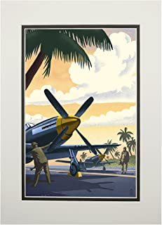 P-51 Mustang at Air Field (11x14 Double-Matted Art Print, Wall Decor Ready to Frame)