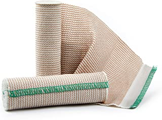 Premium Elastic Bandage Wrap Compression Roll, Includes Hook and Loop Closure, Set of 2 Pack, One Rolls of Each Size 6 Inch x 4.6 Meter Polyester Cotton.