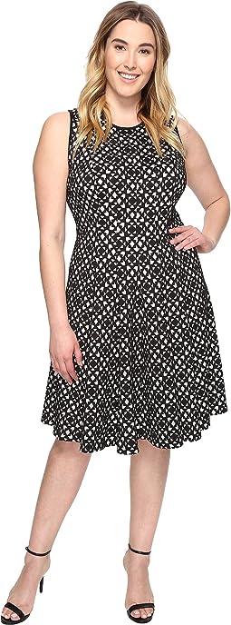 Plus Size Laser Cut Flare Dress