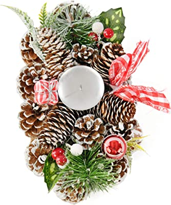 """Home-X Gingham Pinecone Christmas Wreath Candle Holder, Artificial Oval Advent Wreath, Winter Home Decorations, (10"""" x 6"""")"""