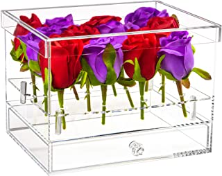Better Display Cases Clear Acrylic Flower Display Case with Drawer for Wedding and Home (A093)
