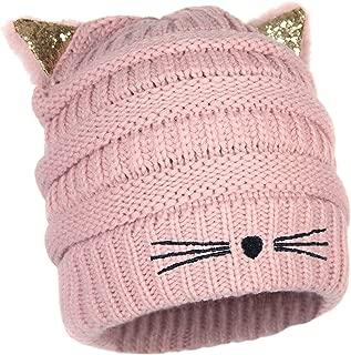 Kitty Cat Ears Beanie Knit Hat- Warm Glitter Winter Stretch Snow Cap with Sparkle Ears