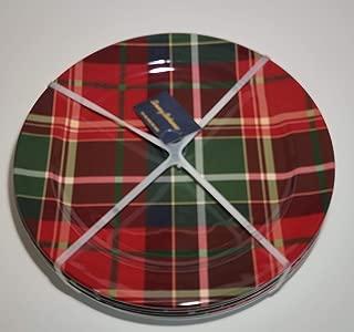 Tommy Bahama Tartan Plaid Dinnerware, Tartan Plaid Red, Green - 100% Melamine Dishwasher Safe (9
