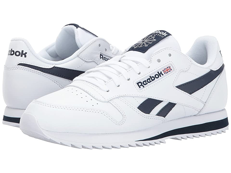 Reebok Lifestyle Classic Leather Ripple Low BP (White/College Navy) Men
