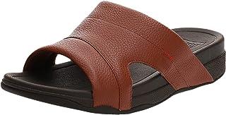 FitFlop Men's Freeway Pool Slide In Leather Sandals, Dark Tan, 46 EU