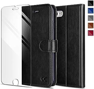 iPhone8 ケース / iPhone7 ケース 手帳型 [強化ガラスフィルム付き] アイフォン7/8 手帳型ケース カバー 財布型 高級 合皮レザー カード収納 スタンド機能 マグネット式 人気 おしゃれ (ブラック)