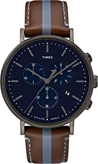 Timex Mens Chronograph Quartz Watch with Leather Strap TW2R37700