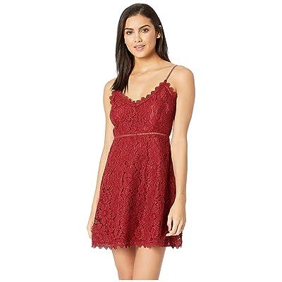 Jack by BB Dakota The Music Lace Dress with Novelty Trim (Maroon) Women
