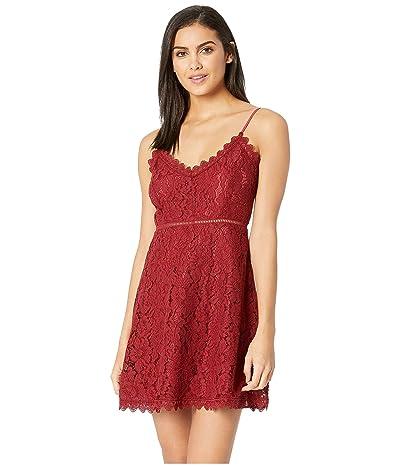 BB Dakota The Music Lace Dress with Novelty Trim (Maroon) Women