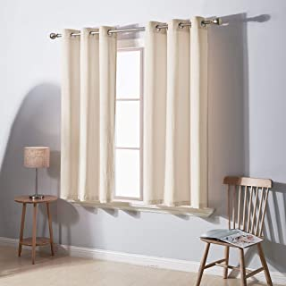 Deconovo Royal Soft Luxury Velvet Curtains Panel Living Room Sound Reducing Window Curtain Set for Bedroom, Set of 2, Ivory,38W x 54L