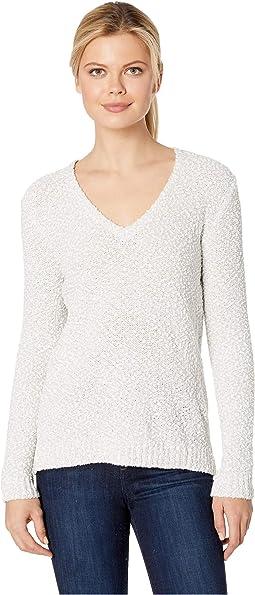 Long Sleeve V-Neck Pompom Yarn Sweater