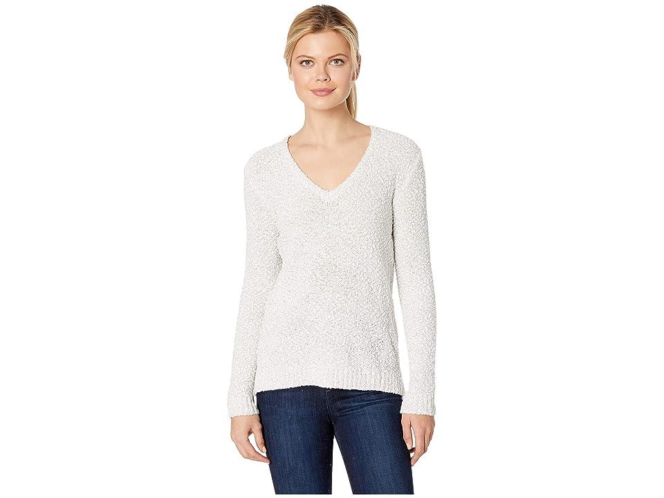 Lilla P Long Sleeve V-Neck Pompom Yarn Sweater (Grey Mist) Women