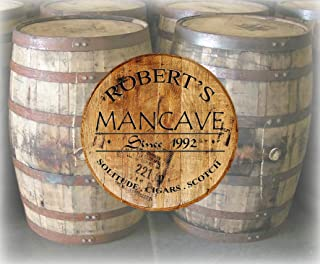 Rustic Home Decor Personalized Whiskey Barrel Lid Man Cave Custom Drinking Bar Sign Man Cave