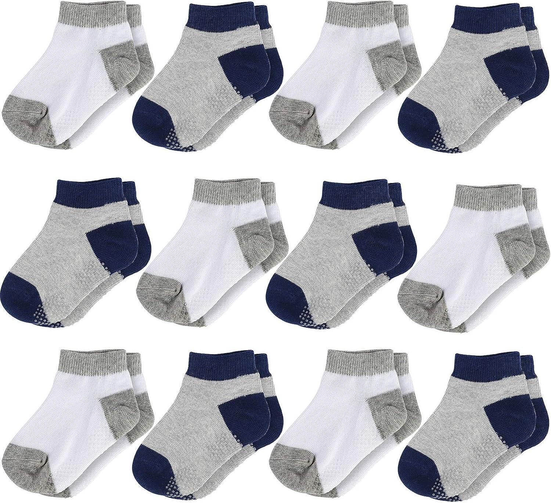 La Volupte 12 Pack Unisex Baby Toddler Kid Cotton Low Cut Sock Anti Slip Grip Ankle Socks