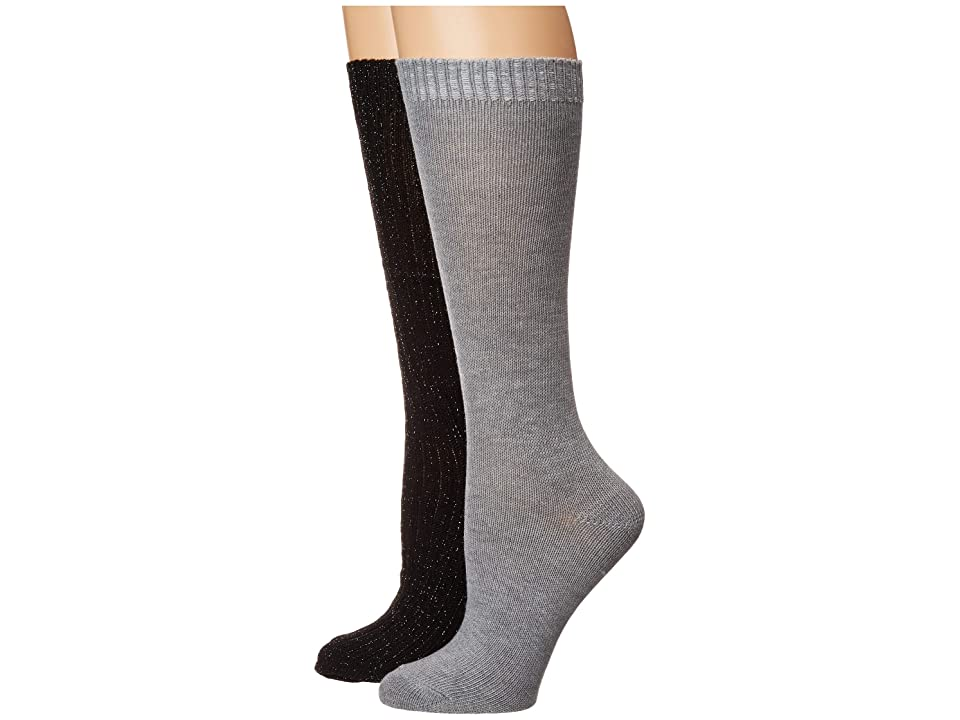 Betsey Johnson 2-Pack Lurex Slouchy Boot Socks (Black/Grey) Women's Crew Cut Socks Shoes