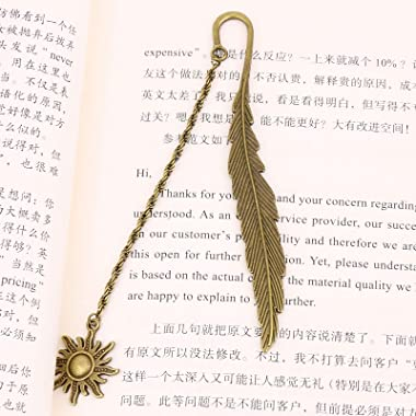 YANPLS Metal Feather Bookmarks for Kids Girls Women Men Book Marks for Book Lovers Cool Cute Vintage Marker