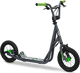 Mongoose Expo Scooter,  Featuring Front and Rear Caliper Brakes and Rear Axle Pegs with 12-Inch Inflatable Wheels,  Available in Multiple Colors