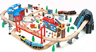 Maxim 100 pc Mountain Wooden Train Set with Roundhouse for Toddler with Double-Side Train Tracks Fits Brio, Thomas, Meliss...
