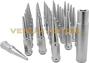 24 Pc Dodge Ram 5x5.5 Chrome Spike Lug Nuts 9/16-18 Spiked Metal Lug Nuts Solid 1 Piece 4.5