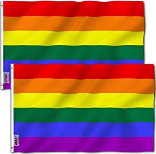 ANLEY Pack of 2 Fly Breeze 3x5 Foot Rainbow Flag 6 Stripes - Vivid Color and UV Fade Resistant - Canvas Header and Double ...