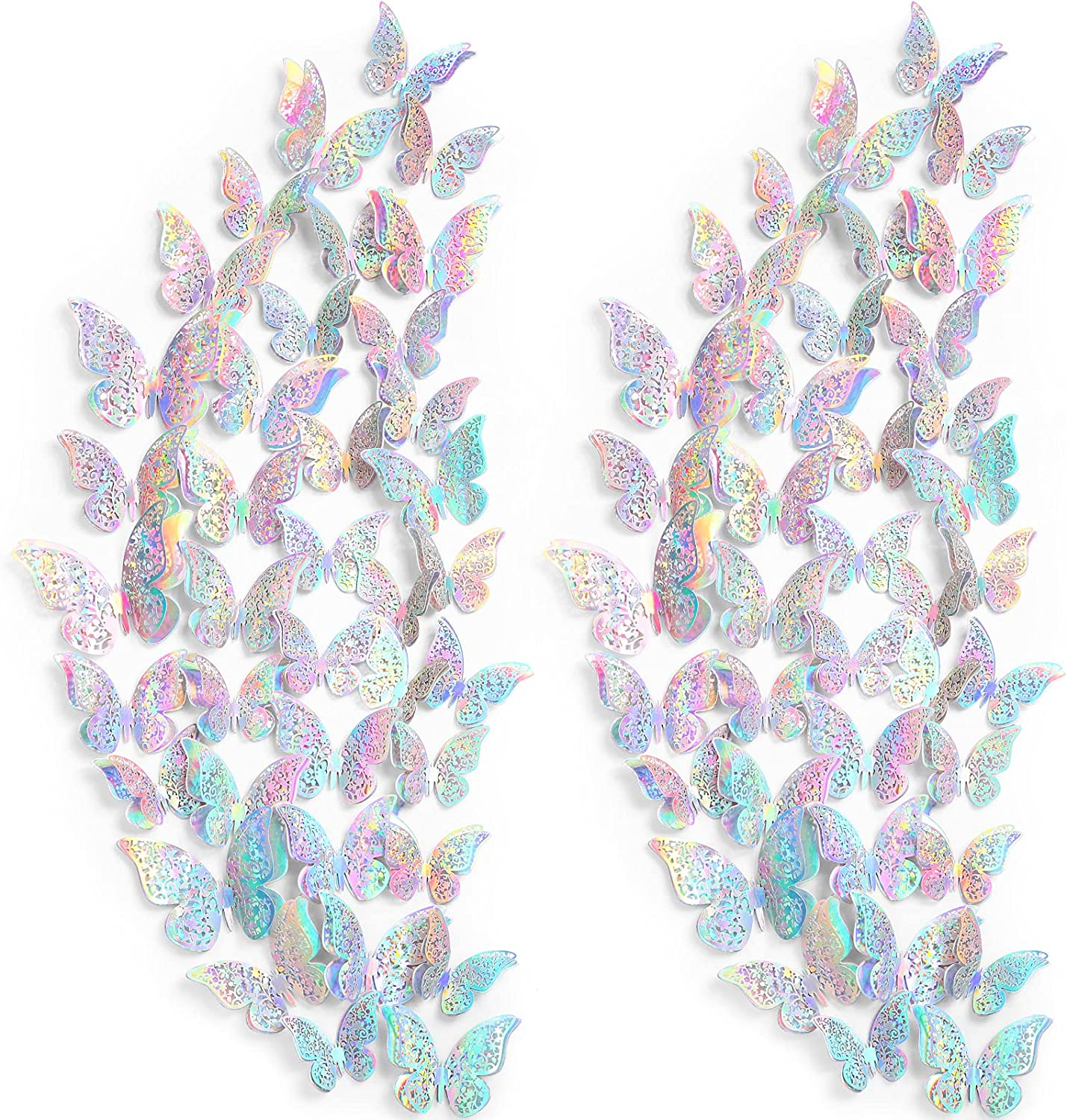 120 Pieces 60 Pairs 3D Layered Butterfly Wall Decor Removable Butterfly Stickers Hollow Mural Decals DIY Decorative Wall Art Crafts for Baby Room Home Wedding Decor (Holographic Silver)