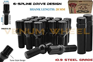 20 Pc Black Locking Spline Lug Bolts M12x1.5 + 2 Keys   28 MM Factory Length   Compatible with BMW 128i 135i 318i 320i 325i 328i 335i M3 525i 528i 530i 535i M5 Z3 Z4 E36 E46 E60 E90 E92 E93