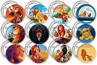 """Lion King Animated Movie Buttons Party Favors Supplies Decorations Collectible Metal Pinback Buttons Pins, Large 2.25"""" -12 pcs, Simba Nala Mufasa Timon Pumbaa Rafiki Scar Zazu Sarabi"""